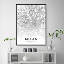 Милан, Рим, Италия, Флоренция, Венеция, карта, печать, живопись, черно-белая гравировка, минималистичное искусство, комната, Настенный декор, ...