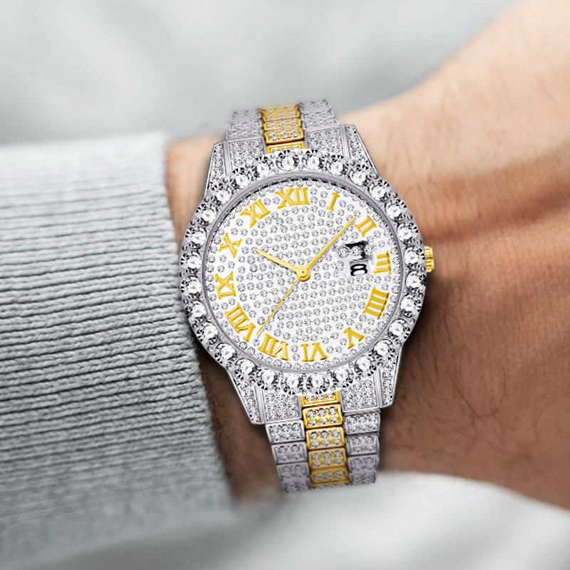 MISSFOX Roman Numeral Gold Silver Analog Quartz Movement Iced Out Big Diamond Bezel Bling Bling Rolexable Men Jewelry Watches