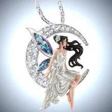 Красивое ожерелье с подвеской в виде лунного ангела длинные
