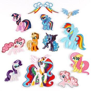Mi pequeño Pony de dibujos animados parches de hierro en bordado de parches para ropa chica pegatinas, insignias apliques chico regalo de cumpleaños