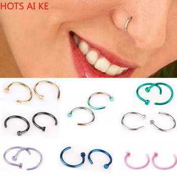 1pcs U Shaped Fake Nose Ring Hoop Septum Stainless Steel Piercing Studs Body Jewelry Metal Round Trendy image