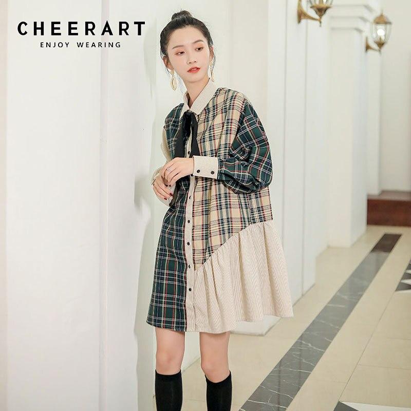 Женское Короткое платье рубашка CHEERART, винтажное клетчатое мини платье с длинным рукавом, на пуговицах, в стиле пэчворк, осень 2019|Платья|   | АлиЭкспресс