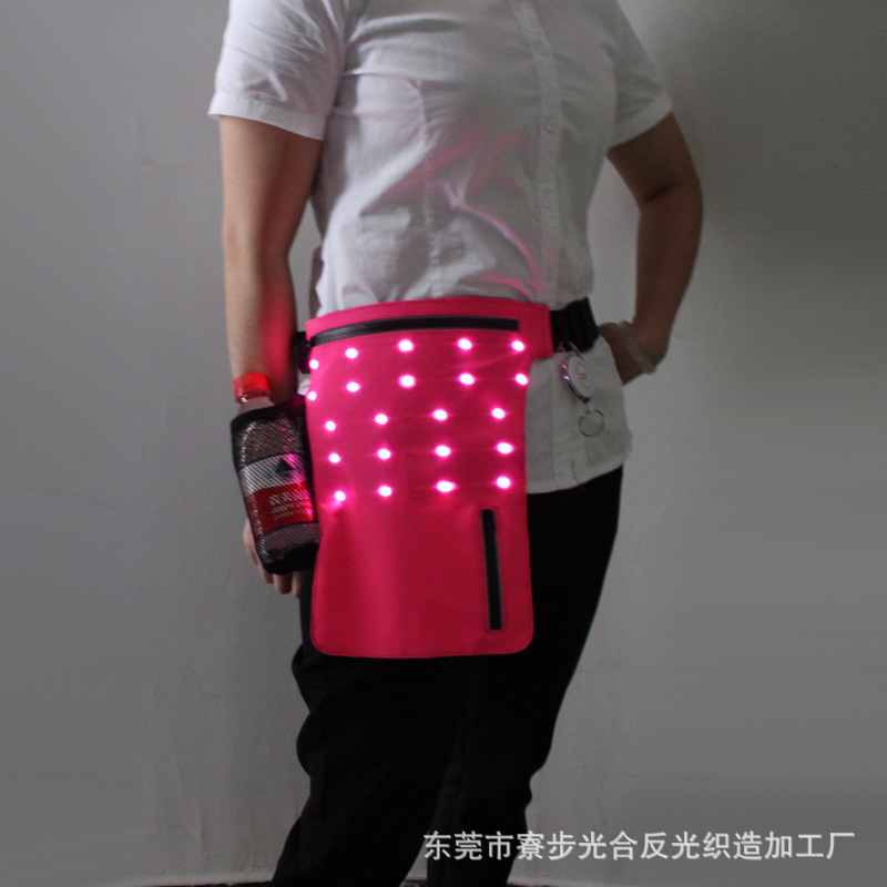 Outdoor Sports Riding Mobile Phone Storgage Bag Headphone Jack Waist Pack LED Glowing Pocket