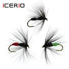 Icmusi iscas de pesca seca, iscas de truta seca vermelha/verde/preta, 12 peças #10