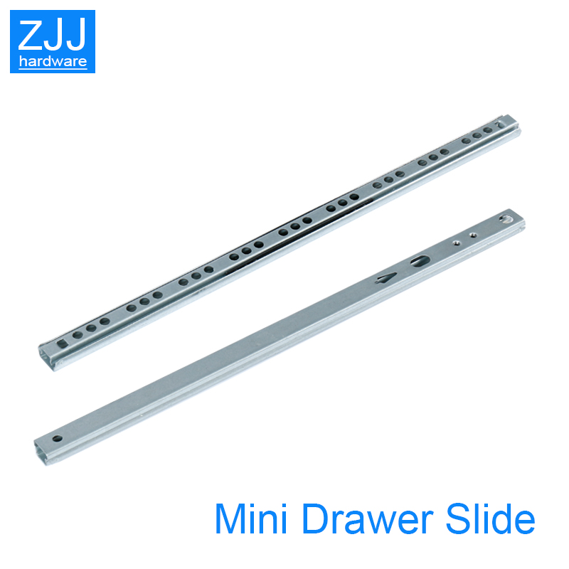 Mini Two way sliding Drawer slides Ball Guide Two Sections 17mm Wide Steel Fold Drawer Steel Ball Slide Rail Furniture Hardware-in Slides from Home Improvement