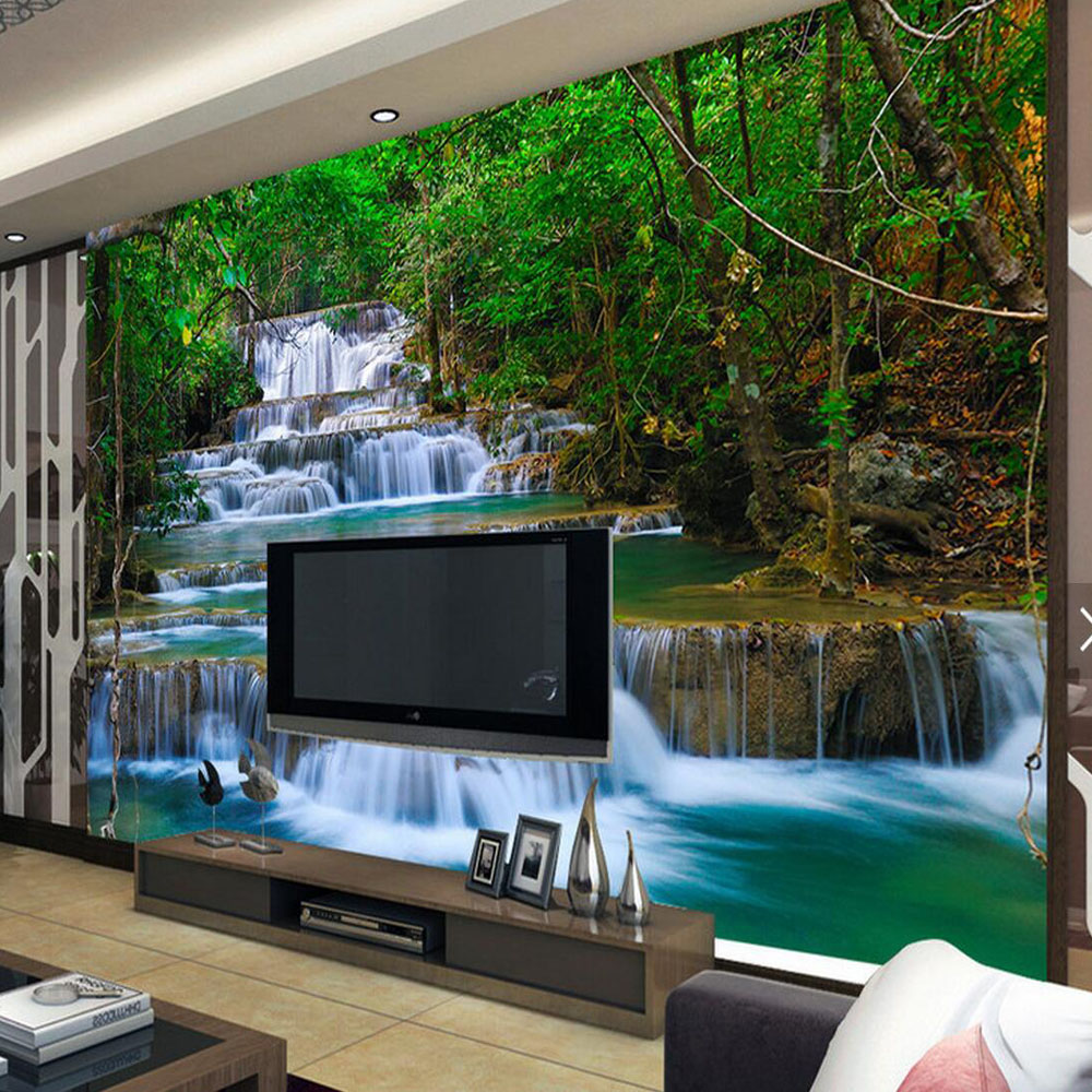 CLEARANCE 3D Wall Mural Wallpaper Home Decor Green Original Forest Waterfall Nature for Bedroom Custom Photo Wall Papers Roll