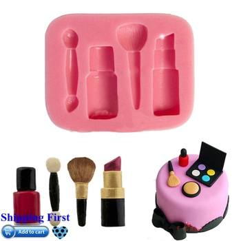 Gran oferta casa silicona lápices labiales maquillaje Fondant moldes pastel sugarcraft, chocolate para hornear moldes accesorios de cocina