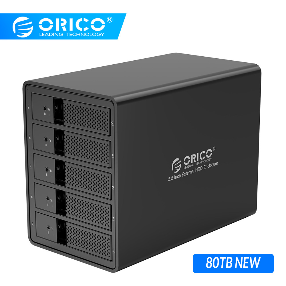 ORICO HDD Case Aluminum 5 Bay 3.5'' USB3.0 HDD Docking Station Support 80TB UASP With 150W Internal Power Adaper SATA To USB 3.0