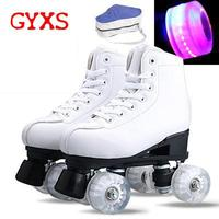 2020 GYXS Adult Artificial Leather Roller Skates Double Line Skates Two Line Skating Shoes Patines With Wheels Shoes with lights