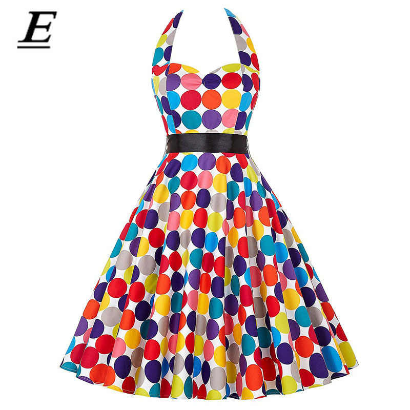 Polka Dot Retro Kleid Halfter Party Kleid Hepburn Vintage 50S 60S Pin Up Rockabilly Kleider Robe Plus Größe elegante Sommer Kleid