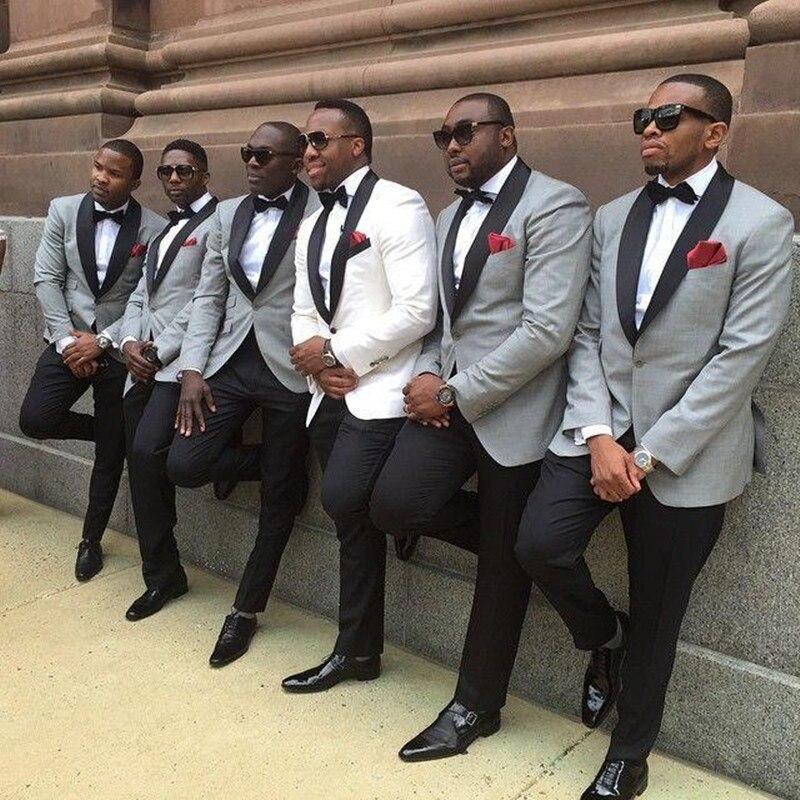 Mens Suits (Jacket+Pants) One Button Slim Fit Groom Tuxedo Light Grey Jacket With Black Tuxedos Black Lapel Best Groomsme