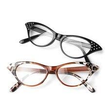 Cat Eye Women Reading Glasses Resin Crystal Rhinestone Decoration Glasses Drop Ship