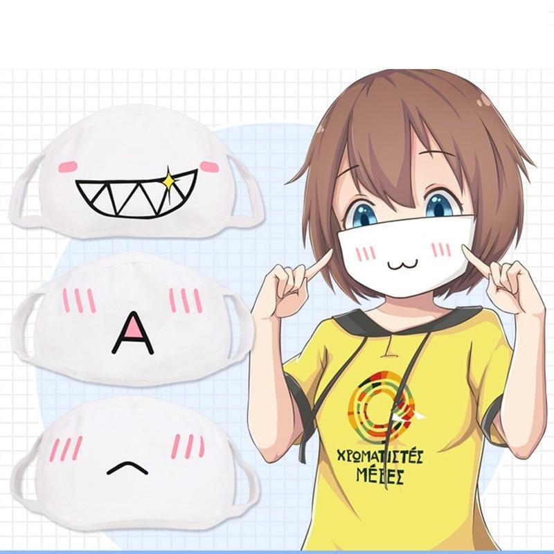 Wholesale 10pcs Japan Anime Face Mask Cosplay Mouth-muffle Kaomoji-kun Emoticon Kawaii Anti-Dust Cotton Mouth Masks Breathable