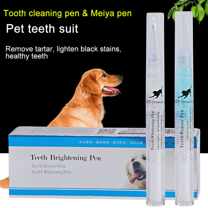 Pets <font><b>Dogs</b></font> Teeth Dental Calculus Stones Remover Toothbrush Cleaning Kit 2pcs 5ml/2ml VJ-Drop image