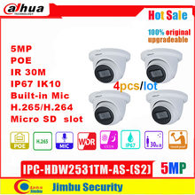 Dahua 5MP Ip Camera Lite Dome IPC-HDW2531TM-AS-S2 4 Stks/partij IR30m Poe Ingebouwde Microfoon Micro Sd Memory Cctv Smart detectie(China)