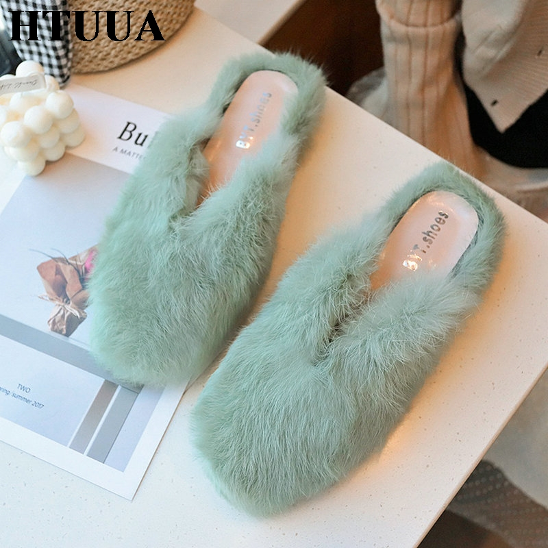 HTUUA Fur Slippers House-Shoes Flat Mules Furry Women Indoor Fluffy Fashion Autumn Spring