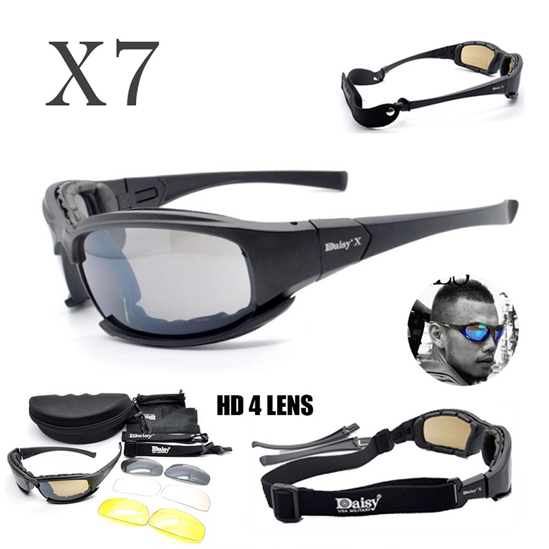 Daisy X7 Polarized Glasses Men Tactical Sunglasses Hunting Shooting Glasses Outdoor Hiking Camping UV400 Protection