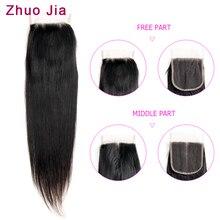 ZhuoJia волосы 4x4 кружева Закрытие человеческих волос бразильские прямые волосы с детскими волосами /средняя часть