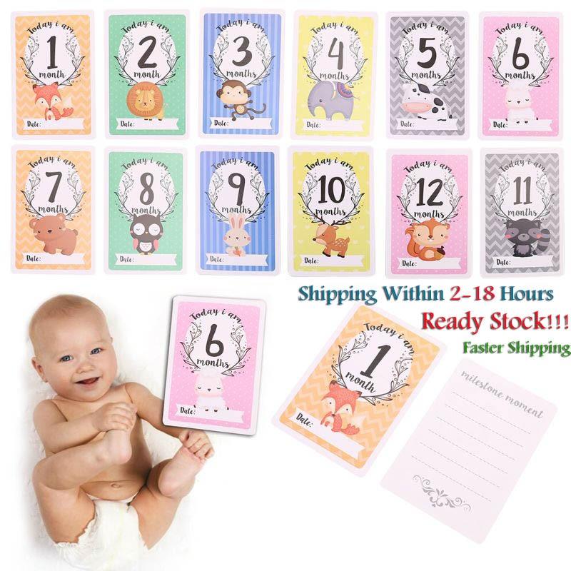 12 Sheet Milestone Photo Sharing Cards Gift Set Baby Age Cards - Baby Milestone Cards, Baby Photo Ca
