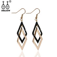 DREJEW Geometric Square Titanium Steel Statement Earrings 2019 Alloy Drop for Women Fashion Christmas Jewelry HE8331