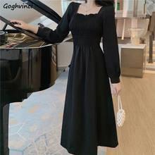 Robe Vintage à col carré pour femmes, taille haute, mi-mollet, Style français, Chic, à la mode, Design Ins, 3XL