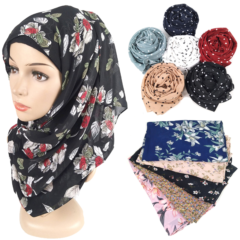 180*75cm Muslim Printed Chiffon Hijab Scarf Arab Headscarf For Women Flower Dot Islam Foulard Shawls And Wraps Hijab Femme