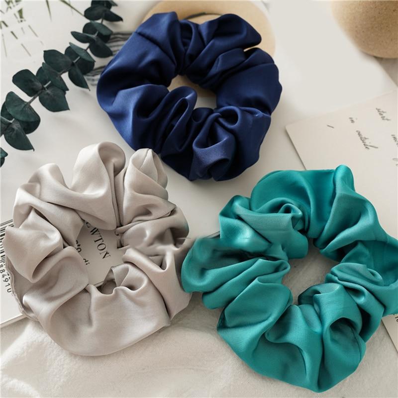 1PC Satin Seide Einfarbig Scrunchies Elastische Haar Bands 2020 Neue Frauen Mädchen Haar Zubehör Pferdeschwanz Halter Haar Krawatten seil