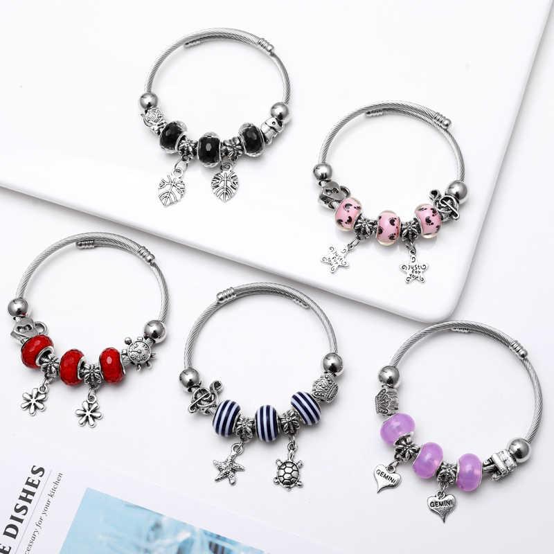 Красочные Хрустальные Очаровательные серебряные браслеты для женщин с AliExpress бисер Мурано браслеты Femme ювелирные изделия с бриллиантами