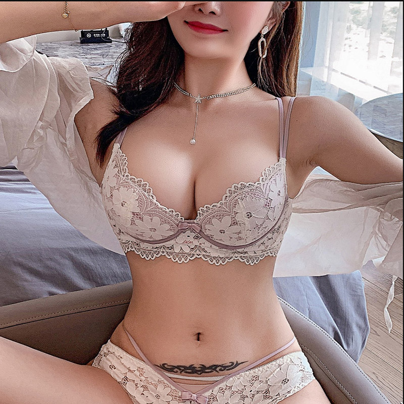 Thin Lace Floral Bra Underwear Breathable Soft Underwire Bralette Fashion Backless Push up Bras for Women Sexy Lingerie