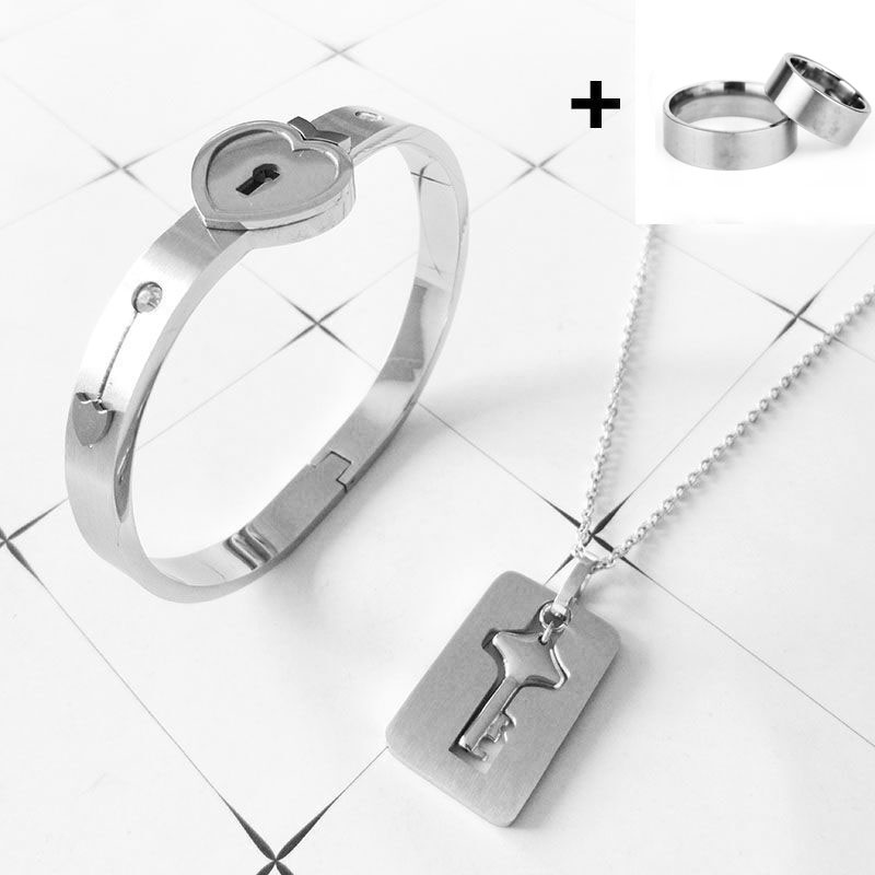 A Couple Lovers Jewelry Love Heart Lock Bracelet Stainless Steel Bracelets Bangles Key Pendant Necklace Jewelry Dropshipping