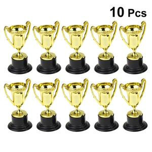 10PCS Mini Plastic Gold Cups Trophies for Party Children Early Learning Toys Prizes