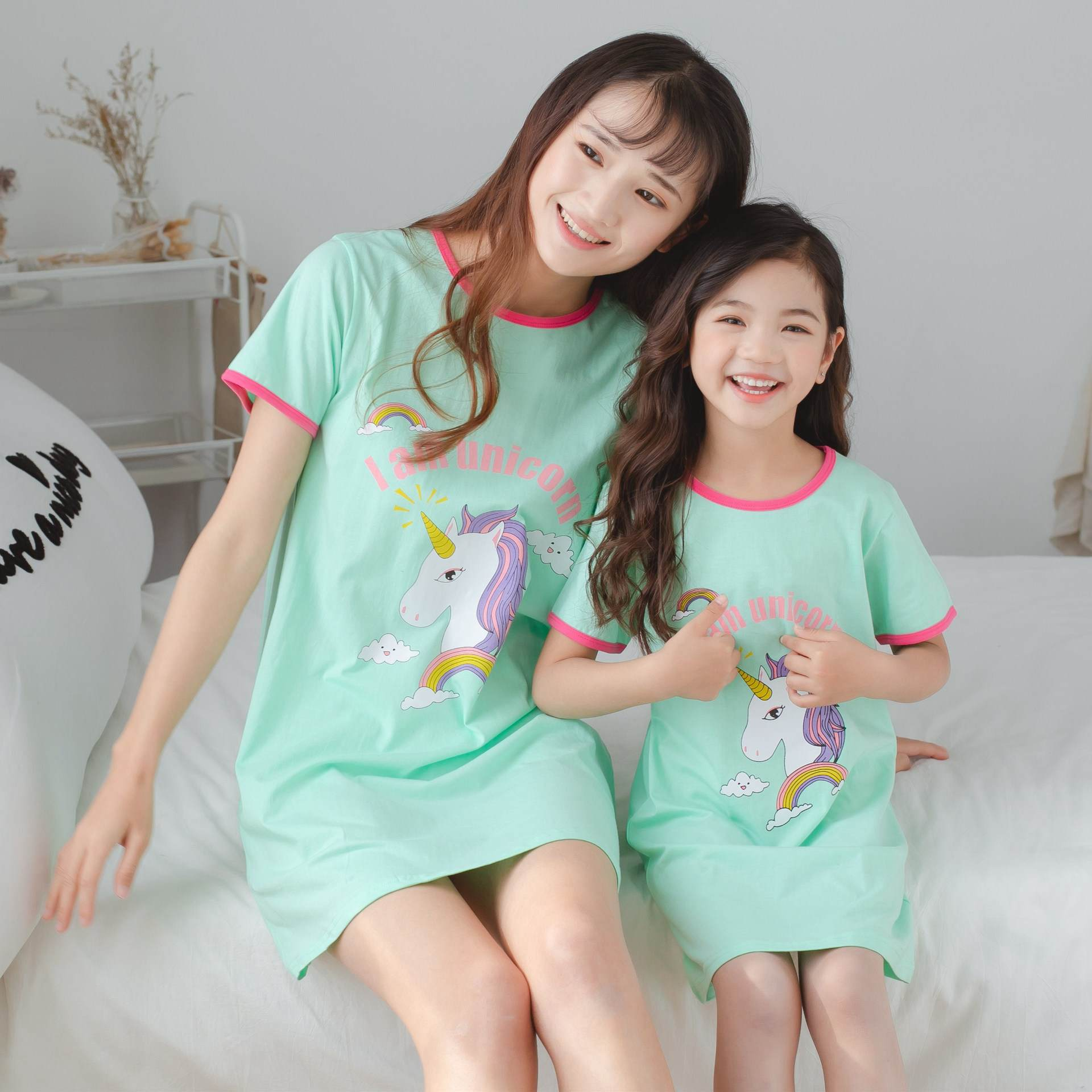 100% Cotton Girls Nightgown Pajamas Children's Summer Nightdress Baby Girls Home Clothes Mother Kids Night dress Girl Sleepwear 1
