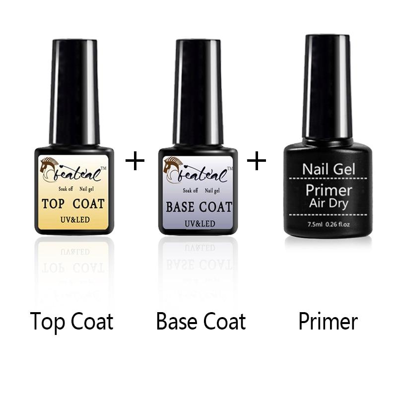 3Pcs/Set Base/Top Coat Nail Gel Primer Matt Top Coat UV Gel Nail PolishLong Lasting Soak off Varnish UV Gel Polish Nail Art