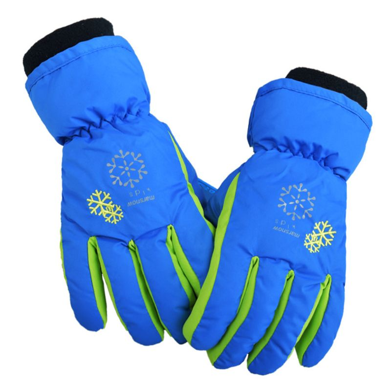Kids Children Snow Ski Gloves Winter Waterproof Thicken Thermal Lining Wrist Warmer Snowflakes Print Non-Slip Mittens With Rope