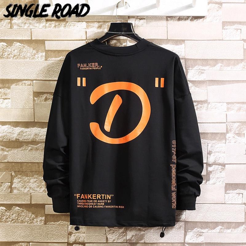 SingleRoad Men's Crewneck Sweatshirt Men 2020 Spring Oversized Japanese Streetwear Hip Hop Sweatshirts Male Black Hoodie Men
