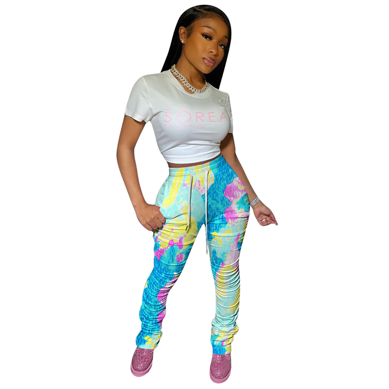 Ruched Pants Stacked Pants Women Sweatpants Camo Joggers Pants High Waist Flare Pleated Tie Dye Stacked Leggings Women Trousers