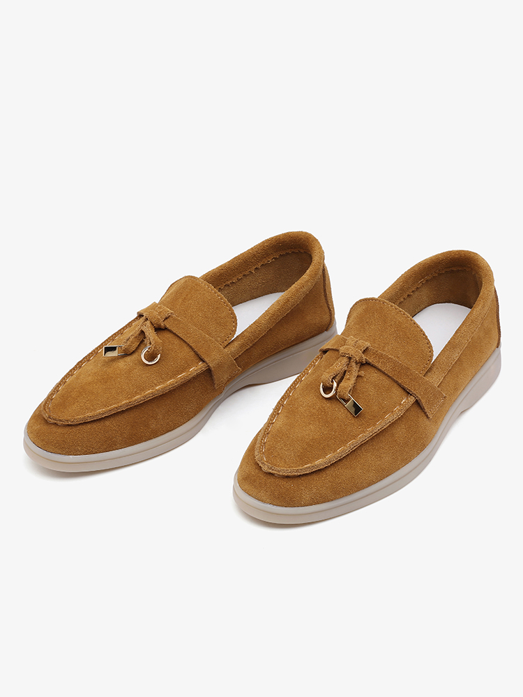 Ballets Flats-Shoes Moccasins Smile-Circle/cow-Suede-Loafers Slip-On Big-Size Genuine-Leather