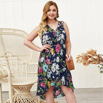 Asymmetric Floral Plus Size Dress Clothes Plus Size cb5feb1b7314637725a2e7: Blue
