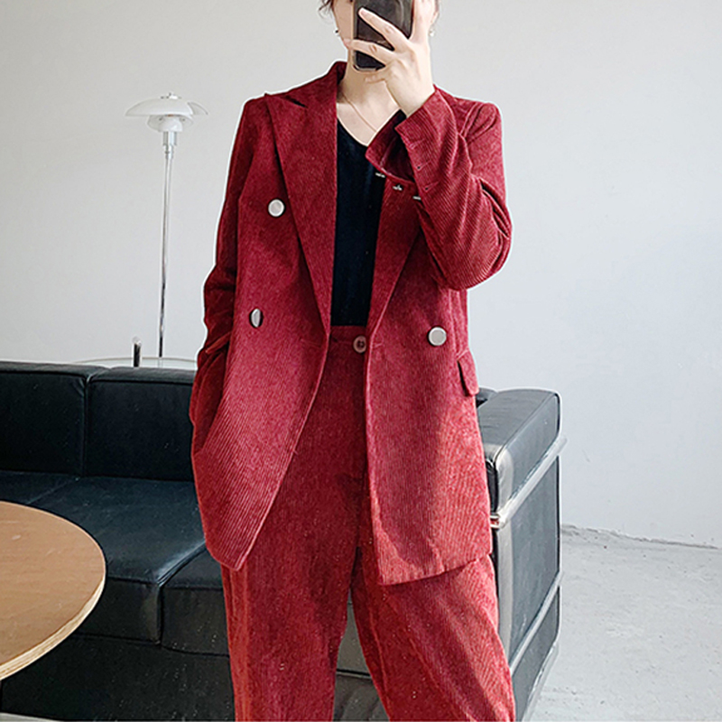 BGTEEVER Vintage Corduroy Women Blazer Suit Female 2 Pieces Set Double-breasted Jacket & Long Pant Women Blazer Set 2020 Spring