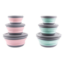 3PCS Portable Silicone Bowl Folding Bowl Salad Dish With Lid Lunch Box Instant Noodle Bucket Kitchen Picnic School Tableware 5 6 8 inch japanese cherry blossom ceramic ramen bowl large instant noodle rice soup salad bowl container porcelain tableware