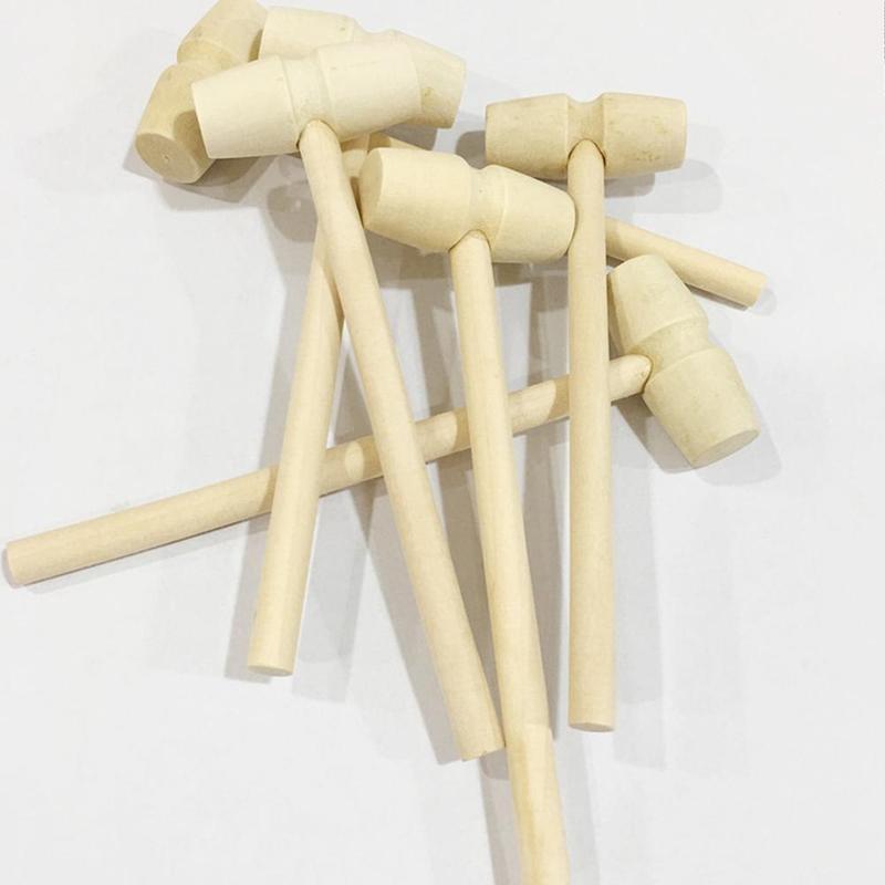 1pcs Mini Wooden Hammer Toy Children Flat Head Small Hammer Little Light Weight Hammer Knock Toy Accessories Kids Christmas Gift