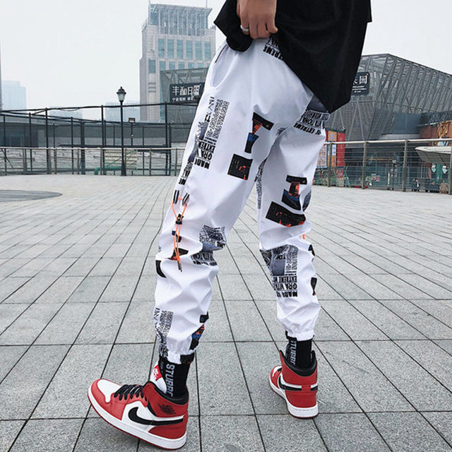 Fliegend Mens Jogging Bottoms Sports Trousers Hip Hop Large Sizes Casual Trousers Harem Style Training Trousers Print Running Trousers Loose Long Fitness Trousers