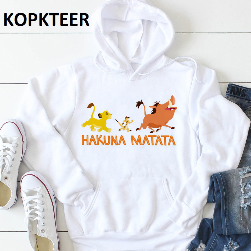 Winter Fashion Unisex Clothes Lion King Hakuna Matata Sweatshirt Women Pullover Hoodie Long Sleeve Thick Tops Sudadera Mujer