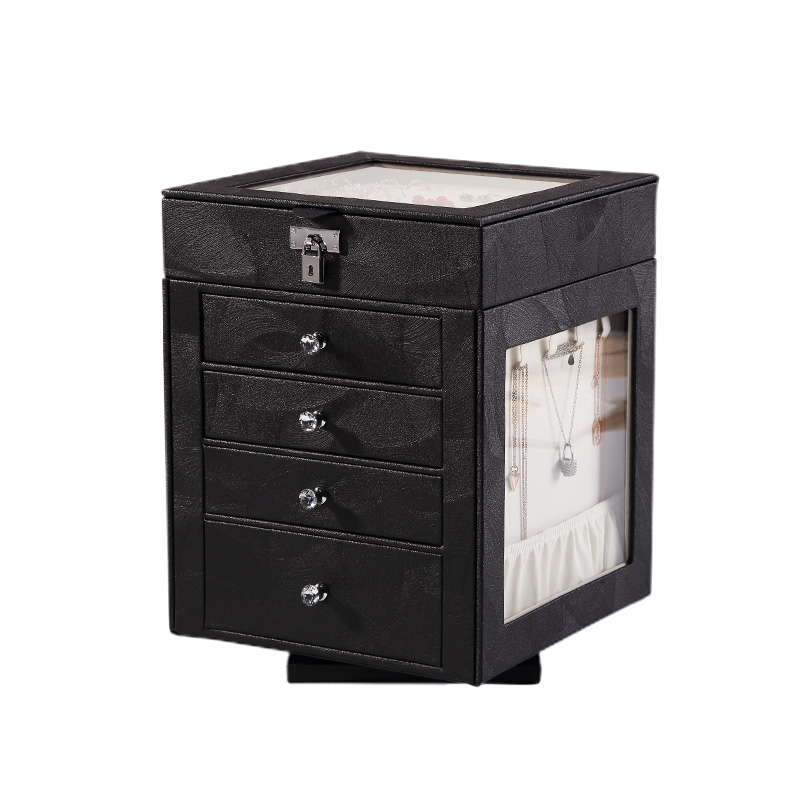 Casegrace 2020 Fashion 5Layers Large Jewelry Box Rotating Jewelry Display Casket Earrings Ring Boxes Jewelry Organizer