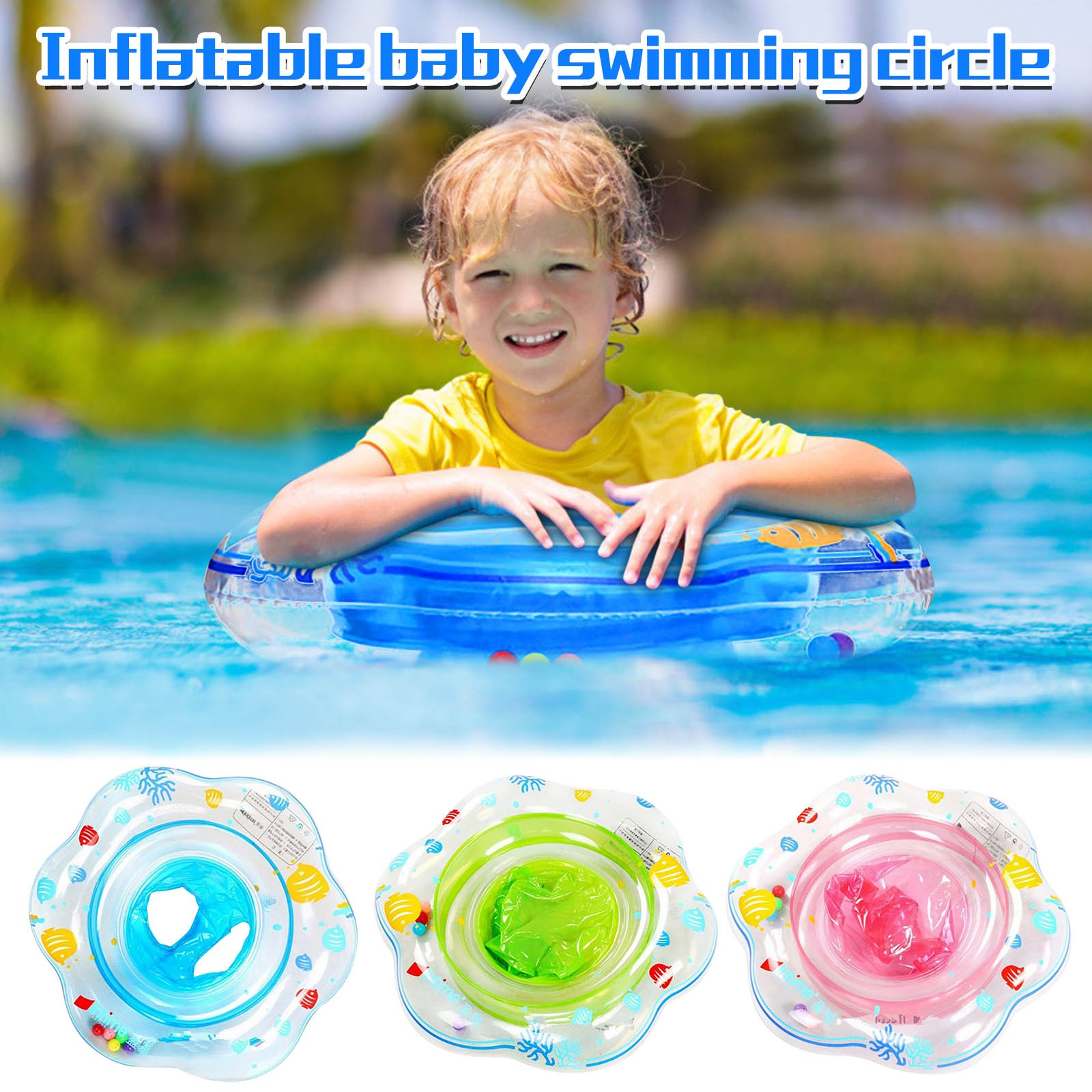 Double Handle Safety Baby Seat Float Swim Ring Inflatable Infant Swimming Pool Rings Water Toy Swim Circle Kids Swim toys 50