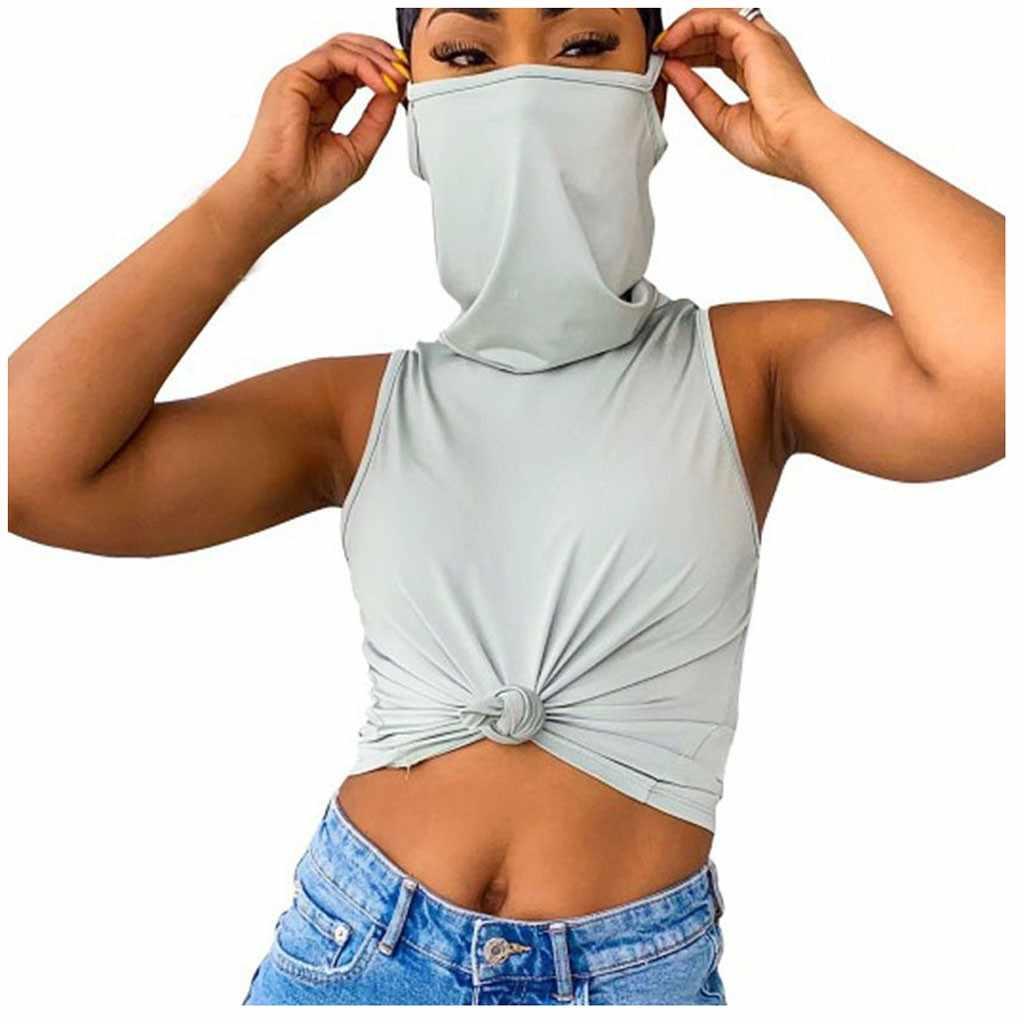 여성 캐주얼 솔리드 컬러 민소매 조끼 마스크 셔츠 플러스 사이즈 여성 여름 2020 New Streetwear cropped илет
