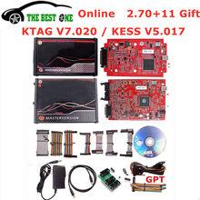 Ilimitado 2.80 ue vermelho ktag v7.020 4 led 2.25 sw em linha kess v5.017 K-TAG 7.020 mestre kess 5.017 obd2 tuning ecu programador