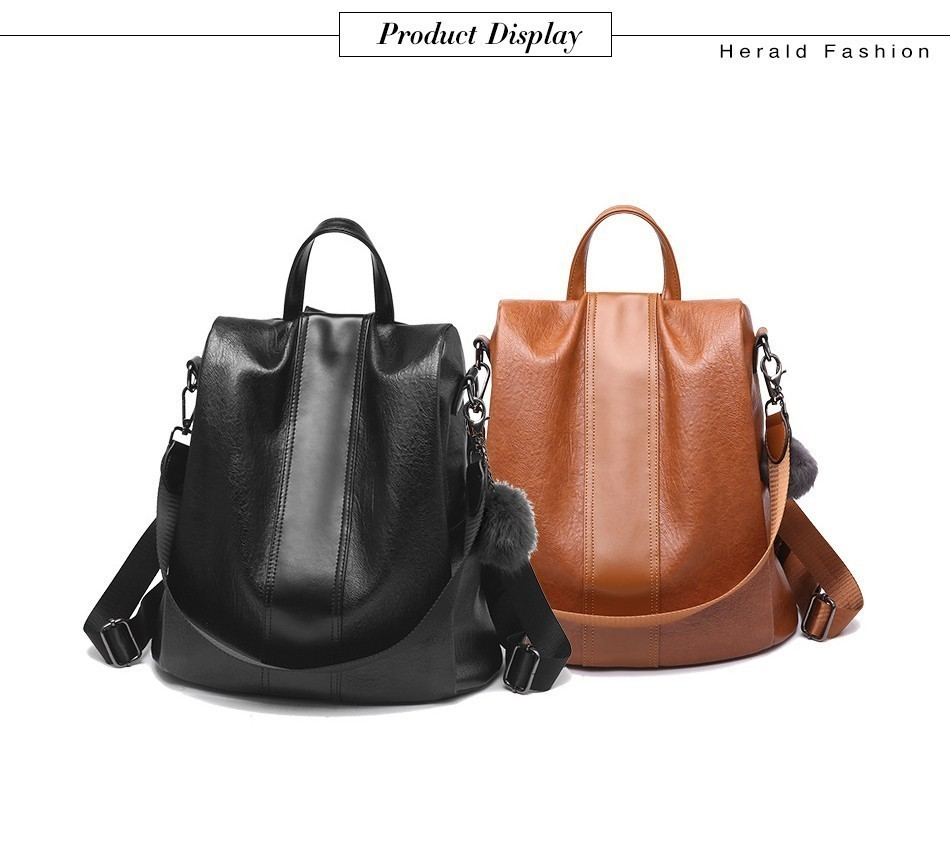Hd37854b89b8241798e0af1dee9f9c7ab8 HERALD FASHION Quality Leather Anti-thief Women Backpack Large Capacity Hair Ball School Bag for Teenager girls Male Travel Bags