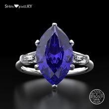 Shipei الطبيعي خاتم من الياقوت الأزرق للنساء ريال 100% فضة الأحجار الكريمة سيترين الخطوبة الزفاف كوكتيل خاتم غرامة مجوهرات