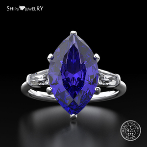 Image 1 - Shipei 天然サファイアリング女性のためのリアル 100% スターリングシルバー宝石用原石シトリン婚約ウェディングカクテル · リングファインジュエリー